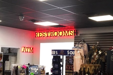 Backlit signs, wall lettering